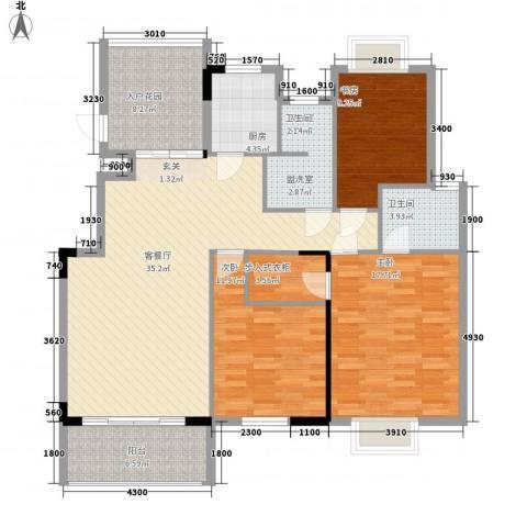 蓝溪枫景3室2厅1卫1厨125.00㎡户型图