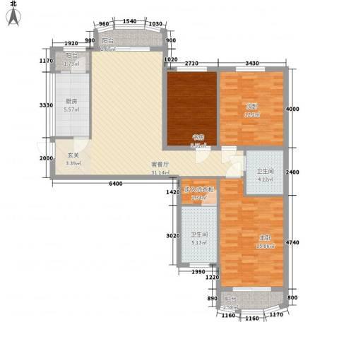 ��汇3室1厅2卫1厨119.00㎡户型图