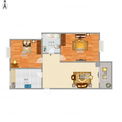 新舒苑2室1厅1卫1厨82.00㎡户型图