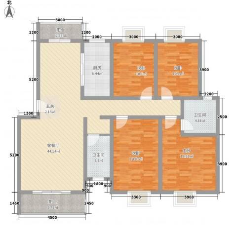 民生桂馨苑4室1厅2卫1厨170.00㎡户型图