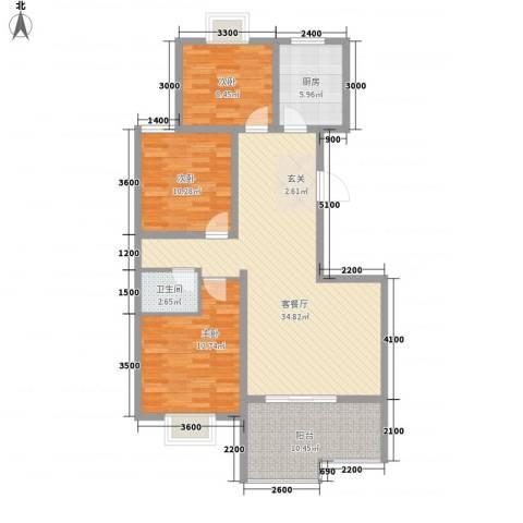 柳青齐鲁园3室1厅1卫1厨122.00㎡户型图