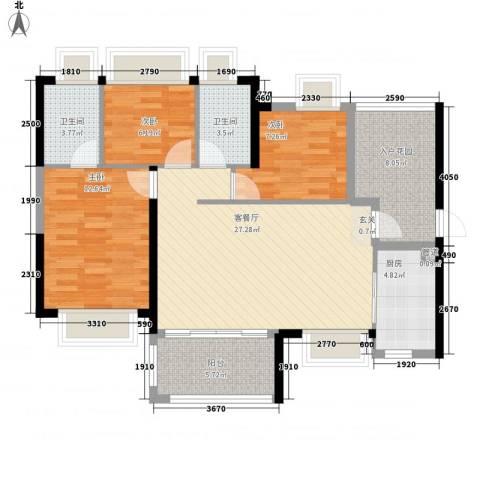 兴伦府3室1厅2卫1厨110.00㎡户型图
