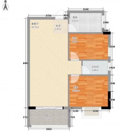兴伦府2室1厅1卫1厨89.00㎡户型图