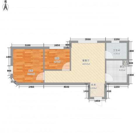 中信・御园2室1厅1卫1厨59.00㎡户型图