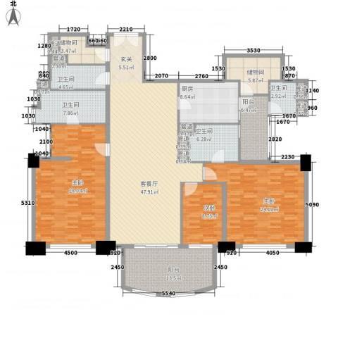 富国高银3室1厅4卫1厨240.00㎡户型图