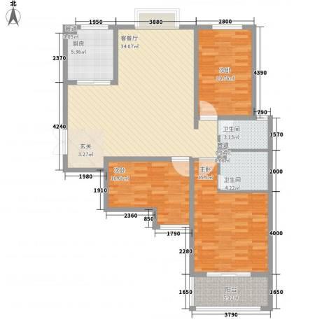 教授花园二期3室1厅2卫1厨124.00㎡户型图