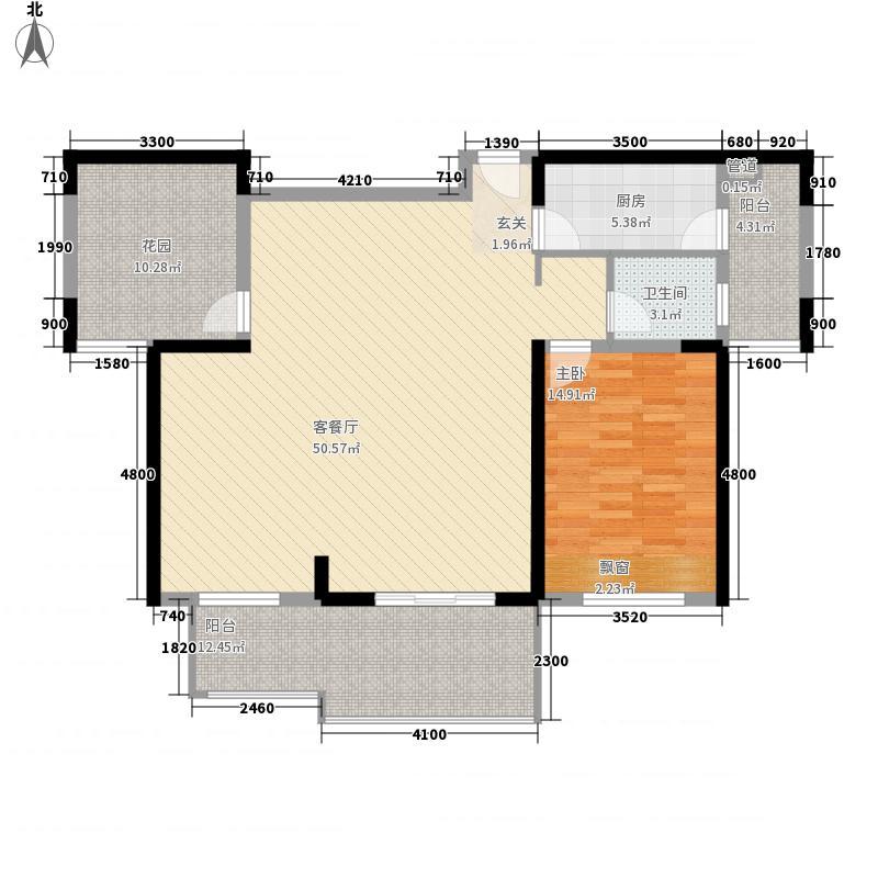 华地公馆114.64㎡C1-8复式下层户型1室2厅1卫1厨
