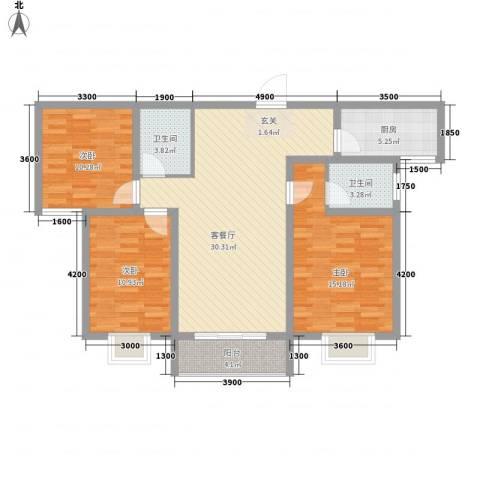 柳青齐鲁园3室1厅2卫1厨119.00㎡户型图