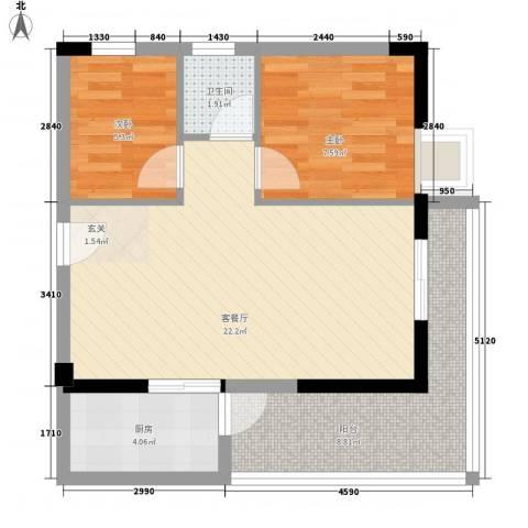 兴伦府2室1厅1卫1厨72.00㎡户型图
