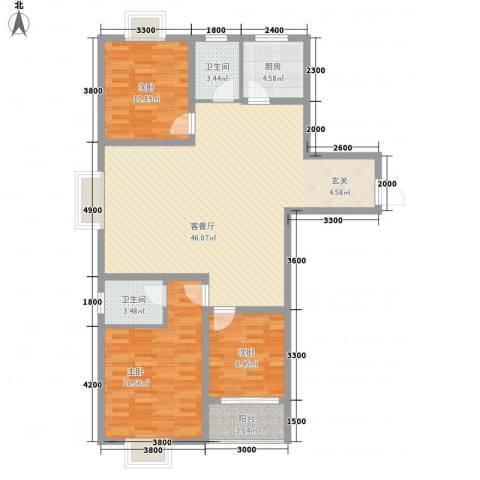 柳青齐鲁园3室1厅2卫1厨137.00㎡户型图