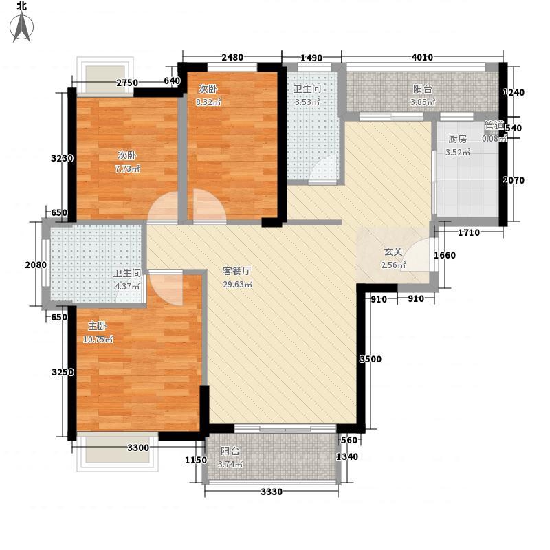 百捷中央学府3室1厅2卫1厨75.52㎡户型图