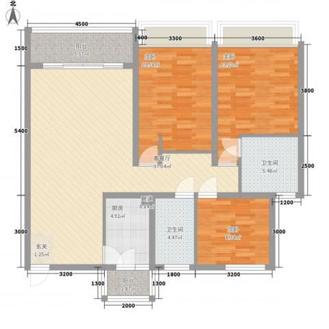 瑞景居3室1厅2卫1厨135.00㎡户型图