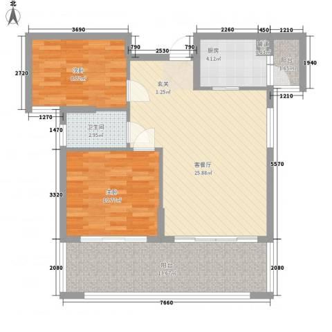 熊猫国际新城2室1厅1卫1厨836.00㎡户型图