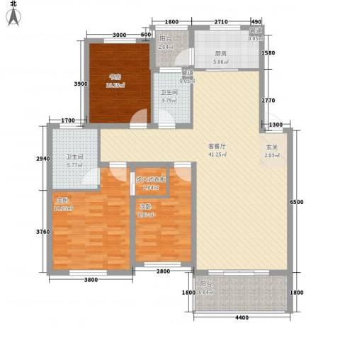 海山路水务宿舍3室1厅2卫1厨143.00㎡户型图