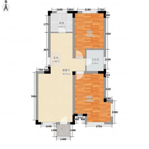 红杏花园2室1厅1卫1厨99.00㎡户型图