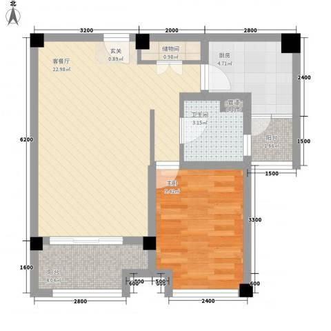 贤文公寓1室1厅1卫1厨70.00㎡户型图