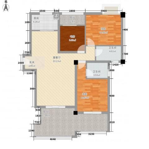 特房海景纯公寓3室1厅2卫1厨138.00㎡户型图