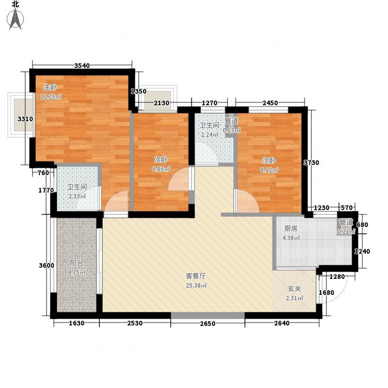 漳州万科城95户型3室2厅2卫
