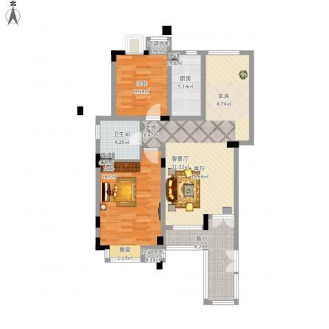 港城滴水湖馨苑2室1厅1卫1厨110.00㎡户型图