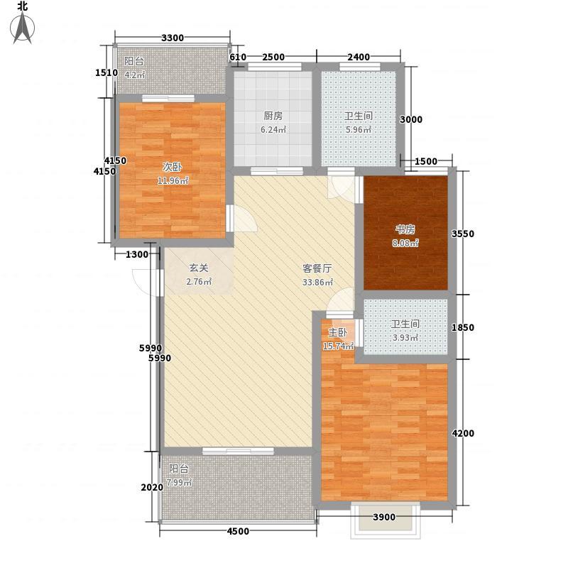 佳运环湖花园水岸美宅116.00㎡二期B户型3室2厅1卫1厨
