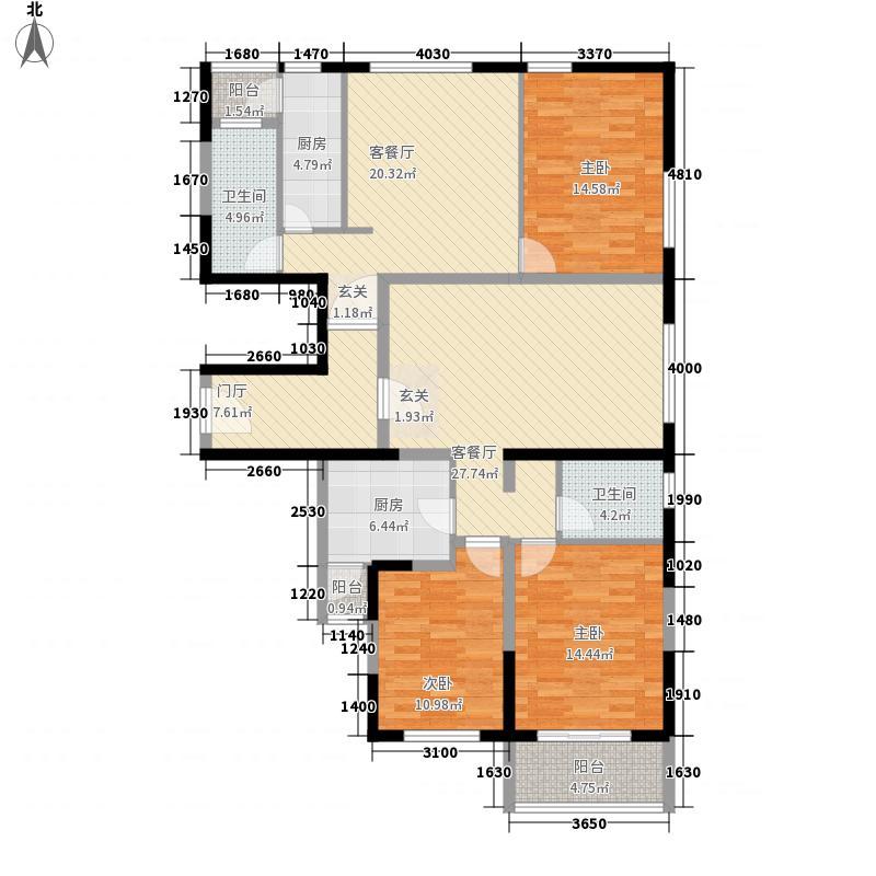 旺角香水岸158.21㎡K户型3室3厅2卫2厨