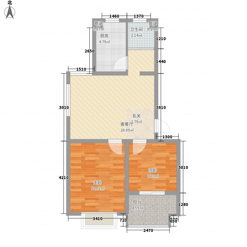 大自然花园67.20㎡一期多层标准层A户型2室2厅1卫1厨