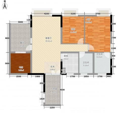钻石公寓3室1厅2卫1厨135.00㎡户型图
