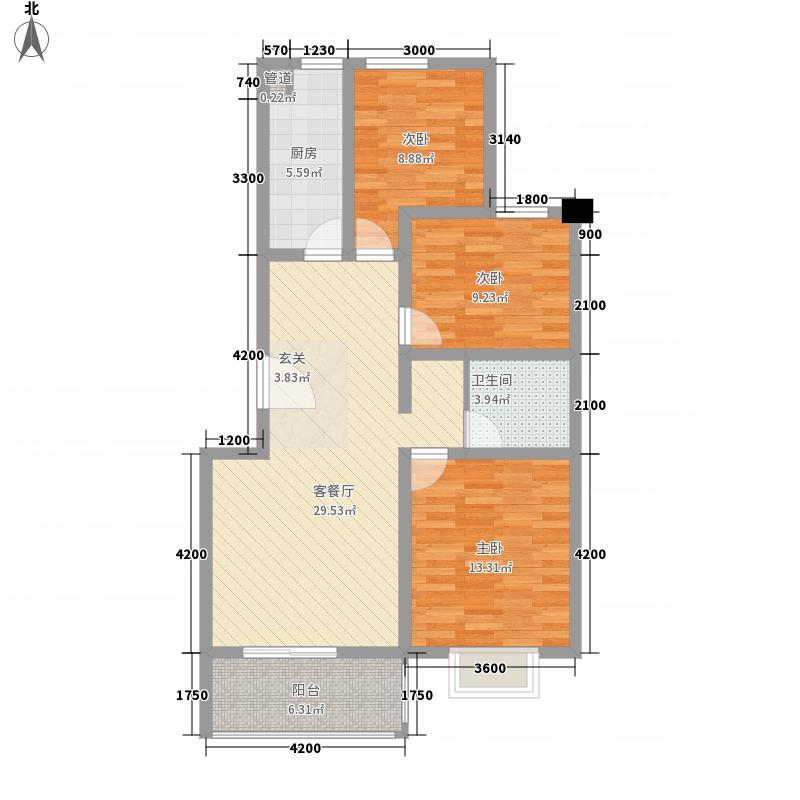 七色镇16号楼B户型3室2厅1卫1厨