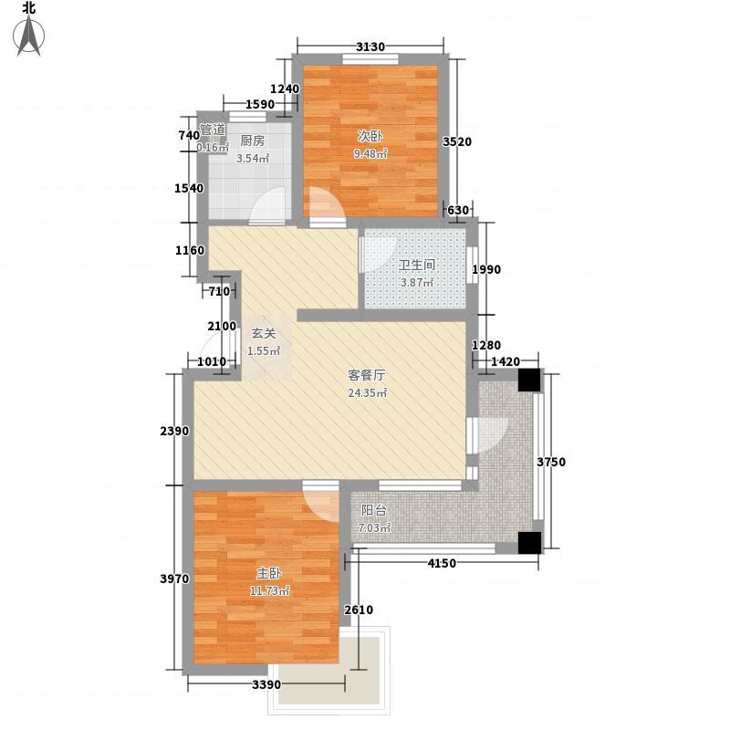 朱雀台87.85㎡标准层E户型2室2厅1卫