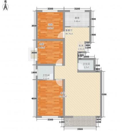 馨康家园3室1厅2卫1厨117.00㎡户型图