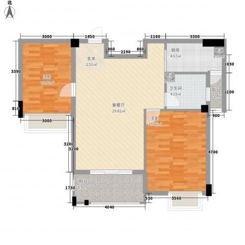 特房海景纯公寓2室1厅1卫1厨102.00㎡户型图
