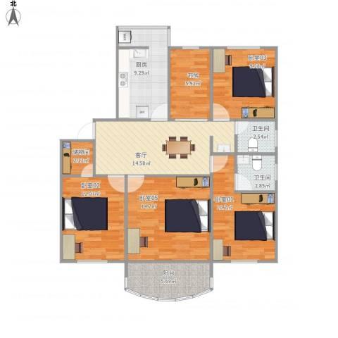 胡姬花园2-9011室1厅2卫1厨121.00㎡户型图