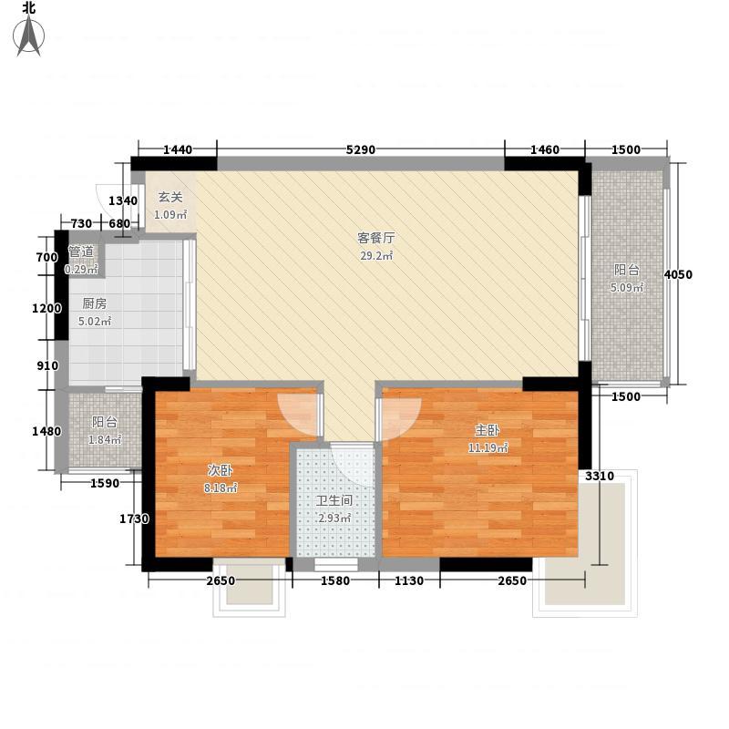 固戍花园住宅二居室户型2室2厅2卫