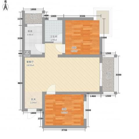 809库单位家属院2室1厅1卫1厨81.00㎡户型图