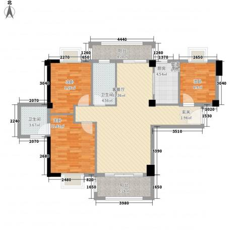 新景城市天骄3室1厅2卫1厨81.82㎡户型图