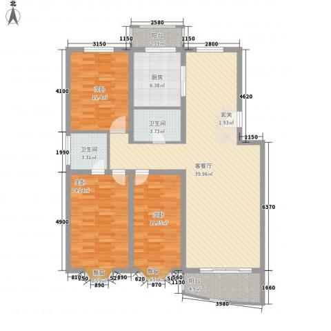 沁园春景3室1厅2卫1厨111.00㎡户型图