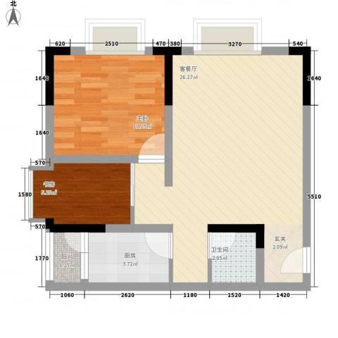 城市阳光2室1厅1卫1厨56.00㎡户型图