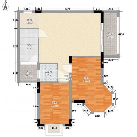 枫叶雅堤2室1厅1卫1厨69.34㎡户型图