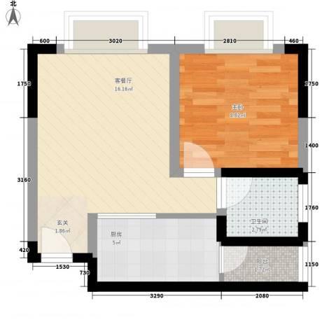 城市阳光1室1厅1卫1厨43.00㎡户型图