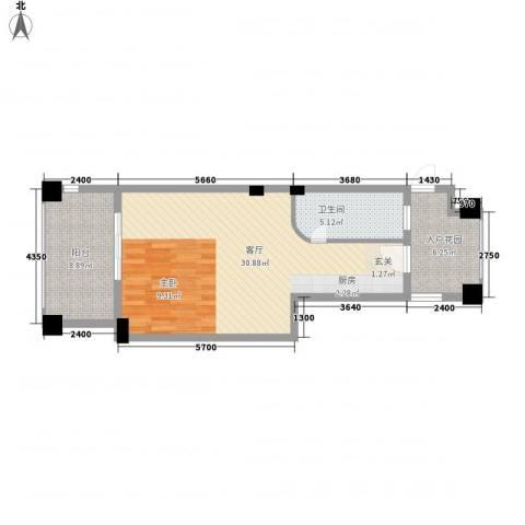 旗滨领海国际1厅1卫0厨52.00㎡户型图