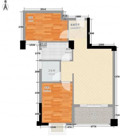 新景城市天骄2室1厅1卫1厨75.00㎡户型图
