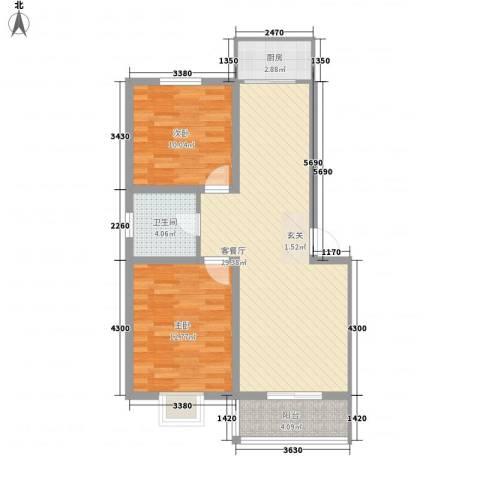 蓝溪花园2室1厅1卫1厨90.00㎡户型图