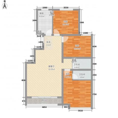 金碧伦3室1厅2卫1厨118.00㎡户型图