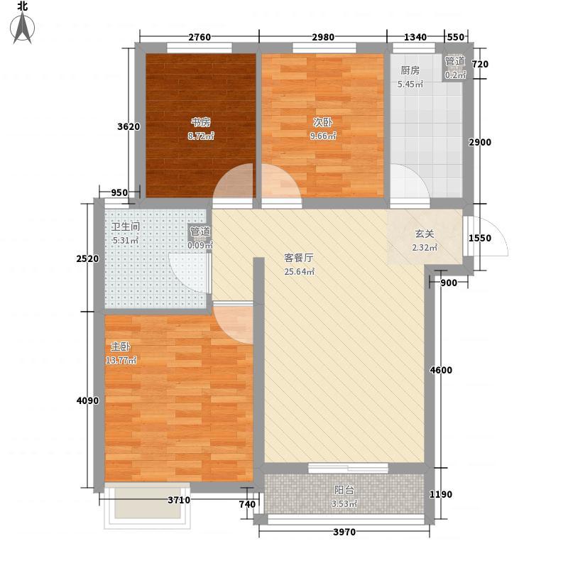 安邦艺景户型3室1厅1卫1厨