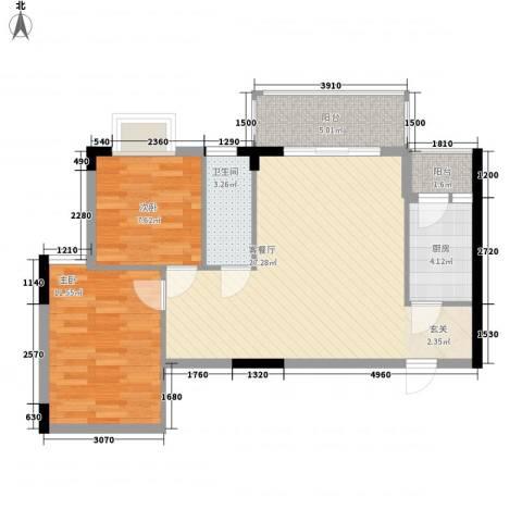 枫叶雅堤2室1厅1卫1厨78.00㎡户型图