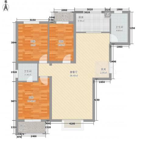 溪湖春晓3室1厅2卫1厨123.00㎡户型图