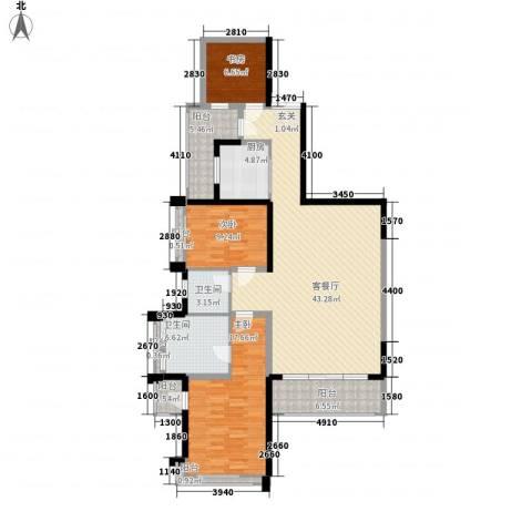 菩提园3室1厅2卫1厨154.00㎡户型图