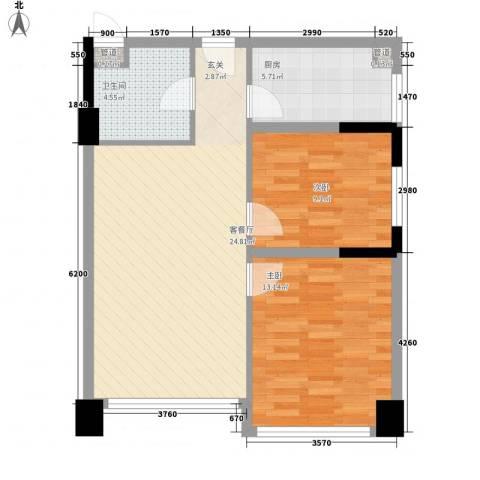 人才中心厂房2室1厅1卫1厨82.00㎡户型图