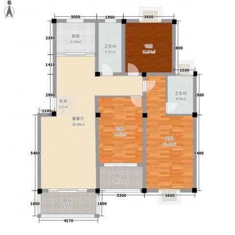 东方丽景3室1厅2卫1厨133.00㎡户型图