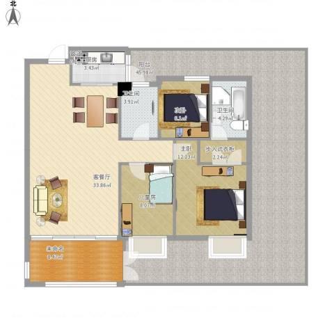 景湖春天3室1厅2卫1厨179.00㎡户型图